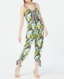 Kendall + Kylie Mixed-Print Tie-Hem Jumpsuit