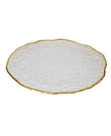 Crushed Glass Chargers With Gold Trim, Set Of 4