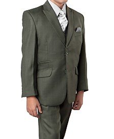 Solid Slanted Pocket 2 Button Front Closure Boys Suit, 5 Piece