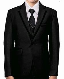 Satin Trim 1 Button Front Closure Boys Suit, 5 Piece