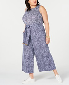 MICHAEL Michael Kors Plus Size Printed Top & Wide-Leg Pants