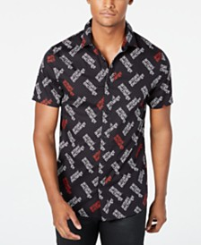 A|X Armani Exchange Men's Stretch Logo-Print Shirt Created For Macy's