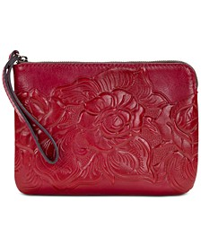 Waxed Tooled Rose Leather Cassini Wristlet