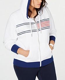 Plus Size Striped Zip-Up Hoodie Sweatshirt