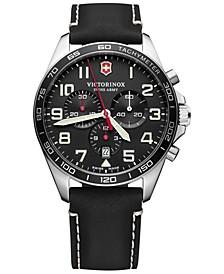 Men's Chronograph FieldForce Black Leather Strap Watch 42mm
