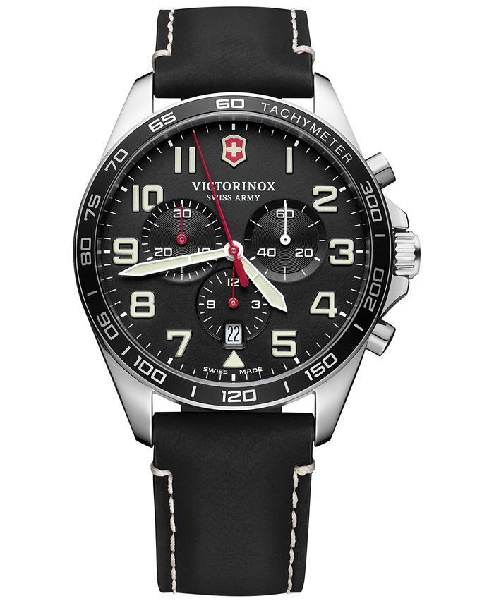 Victorinox Swiss Army - Men's Chronograph FieldForce Black Leather Strap Watch 42mm