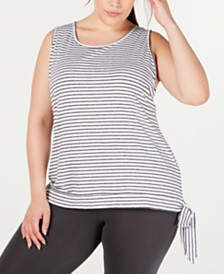 Ideology Plus Size Striped Side-Tie Tank Top, Created for Macy's