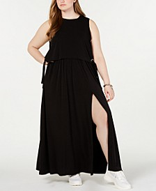 Plus Size Lace-Up Popover Maxi Dress
