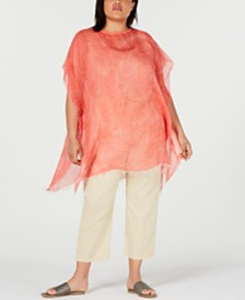 Eileen Fisher Plus-Size Sheer Raw-Edge Poncho