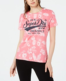 Superdry Cotton Floral-Print Logo T-Shirt