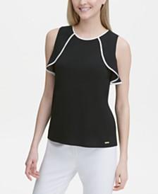 Calvin Klein Sleeveless Ruffle-Trimmed Top
