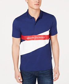 A|X Armani Exchange Men's Colorblocked Logo-Print Polo   Created For Macy's