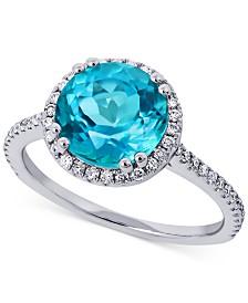Paraiba Mystic Topaz (3-1/4 ct.t.w.) & Diamond (1/4 ct. t.w.) Statement Ring in 14k White Gold