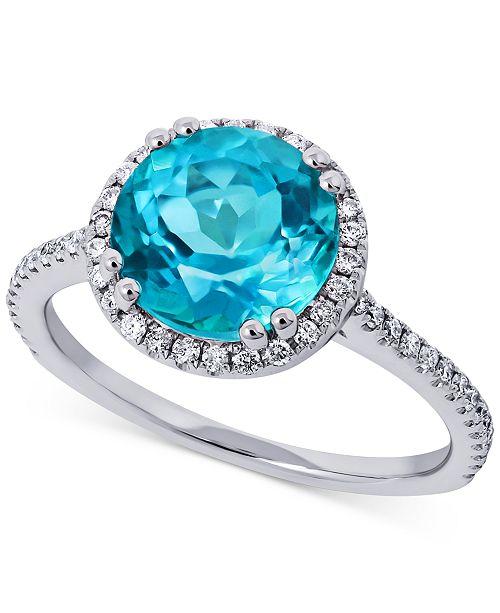 Macy's Paraiba Mystic Topaz (3-1/4 ct.t.w.) & Diamond (1/4 ct. t.w.) Statement Ring in 14k White Gold