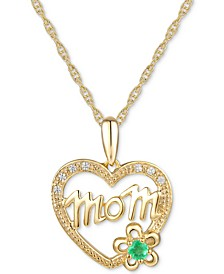 "Emerald Accent & Diamond Accent Mom 18"" Pendant Necklace in 14k Gold"