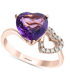 EFFY® Amethyst (2-1/2 ct. t.w.) & Diamond (1/10 ct. t.w.) Double Heart Ring in 14k Rose Gold