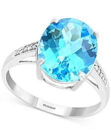 EFFY® Blue Topaz (5-9/10 ct. t.w.) & Diamond Accent Statement Ring in 14k White Gold