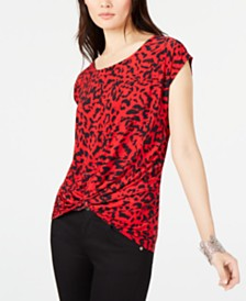 I.N.C. Twist-Front T-Shirt, Created for Macy's