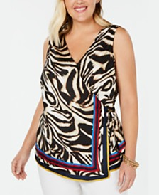 I.N.C. Plus Size Tiger-Print Surplice Top, Created for Macy's