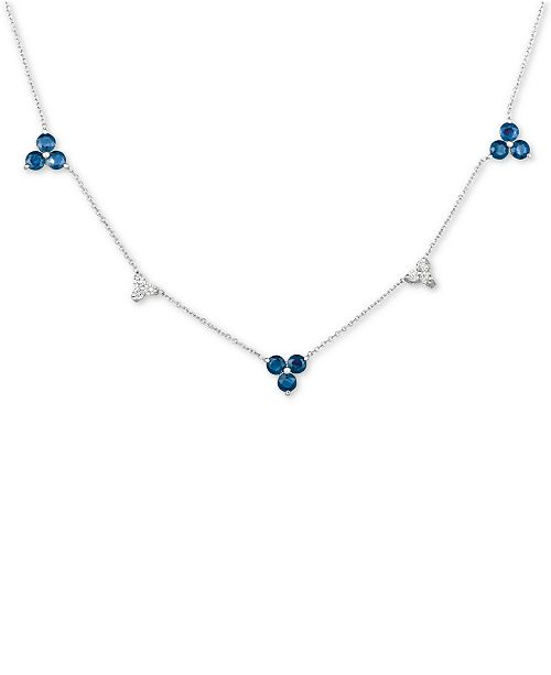 "Macy's Sapphire (3 ct. t.w.) & Diamond (1/5 ct. t.w.) 17"" Collar Necklace in 14k White Gold"