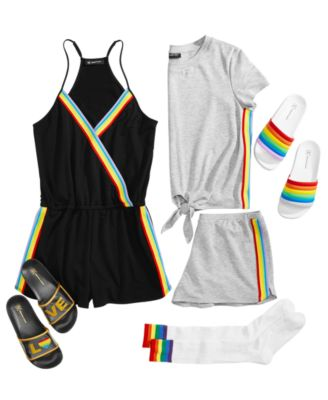 INC Super Soft Rainbow Tie-Front Top and Shorts Pajama Set, Created for Macy's