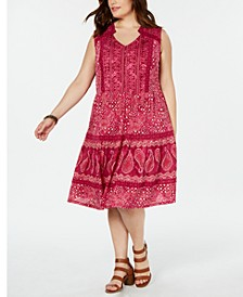 Plus Size Printed Drop-Waist Dress, Created for Macy's
