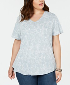 Style & Co Plus Size Cotton Printed T-Shirt, Created for Macy's