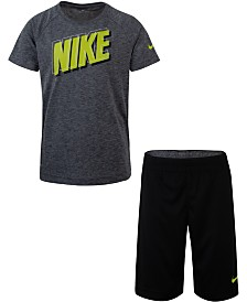 Nike Little Boys 2-Pc. Dri-FIT Logo T-Shirt & Mesh Running Shorts Set