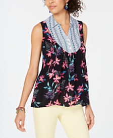 Style & Co Mixed Media Collared Top, Created for Macy's