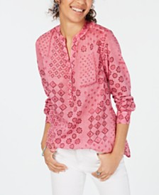 Style & Co Cotton Voile Printed Top, Created for Macy's