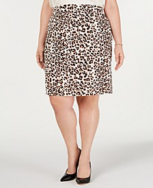 Plus Size Animal-Print Pencil Skirt, Created for Macy's