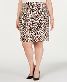 Bar III Plus Size Animal-Print Pencil Skirt, Created for Macy's