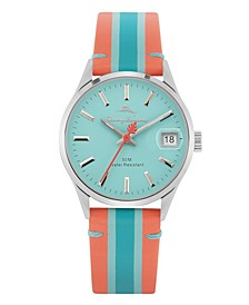 Santa Monica Red, Light Blue and Blue Stripped Genuine Leather Watch