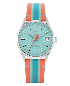 Tommy Bahama Santa Monica Red, Light Blue and Blue Stripped Genuine Leather Watch