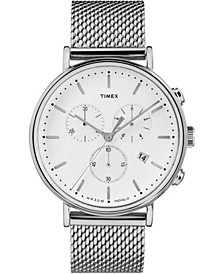 Timex Fairfield Chronograph 41mm White Dial Mesh Band Watch