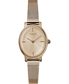 Timex Milano Oval 24mm Stainless Steel Gold Mesh Band Watch