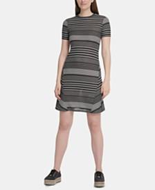 DKNY Striped Ribbed Dress