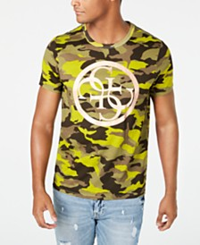 GUESS Men's Upscale Camouflage Logo Graphic T-Shirt