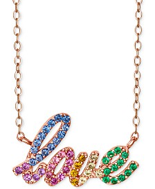 "Giani Bernini Cubic Zirconia Rainbow Pavé Love Pendant Necklace in 18k Rose Gold-Plated Sterling Silver, 16"" + 2"" extender, Created for Macy's"