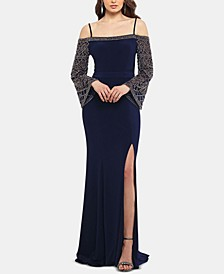 Off-The-Shoulder Embellished-Sleeve Gown