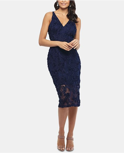 XSCAPE Lace Midi Dress