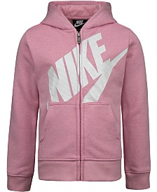 Nike Little Girls Futura Modern-Fit French Terry Full-Zip Logo Hoodie