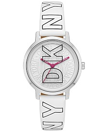 DKNY Women's Modernist White Logo Polyurethane Strap Watch 36mm