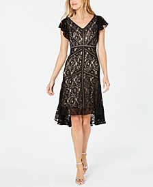 Petite Flutter-Sleeve Lace Dress