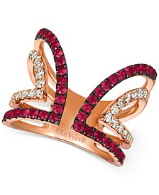 Certified Passion Ruby (3/4 ct. t.w.) and & Nude Diamond (1/2 ct. t.w.) Ring in 14k Rose Gold