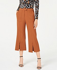Slit-Front Cropped Flare Pants