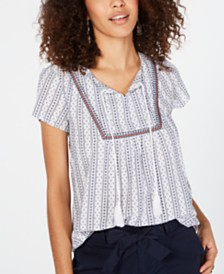 Style & Co Cotton Striped Trim Peasant Top, Created for Macy's