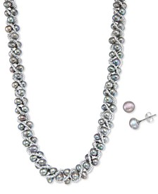 Cultured Freshwater Pearl Woven Necklace (4mm) & Stud Earrings (6mm) Set in Sterling Silver