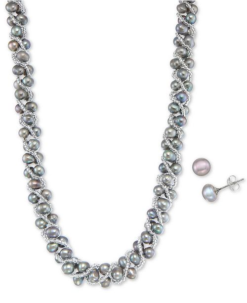 Macy's Cultured Freshwater Pearl Woven Necklace (4mm) & Stud Earrings (6mm) Set in Sterling Silver