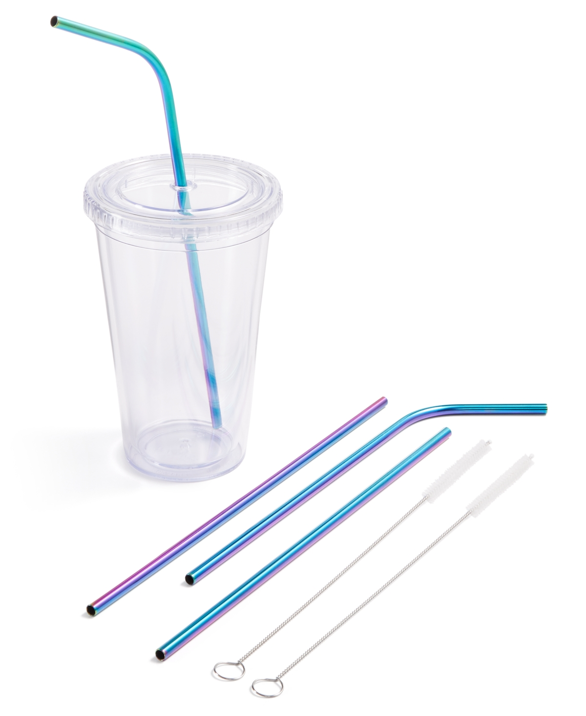 Martha Stewart Collection 6-Pc. Reusable Straw & Cleaning Brush Set, Created for Macy's